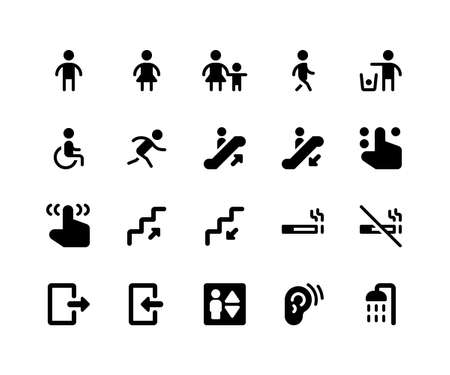 Simple Set of Wayfinding Related Vector Glyph Icons. Contains such Icons as sign, male, women, walking, run, wheelchair and More. pixel perfect vector icons based on 32px grid. Well Organized