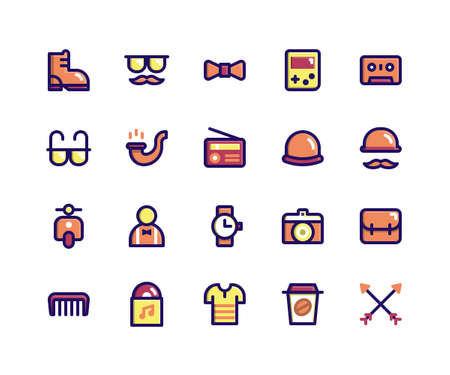 Simple Set of Hipster Related Vector Filled Line Icons. Contains such Icons as boot, mustache, bow, game, tape and More. pixel perfect vector icons based on 32px grid. Well Organized and Layered.
