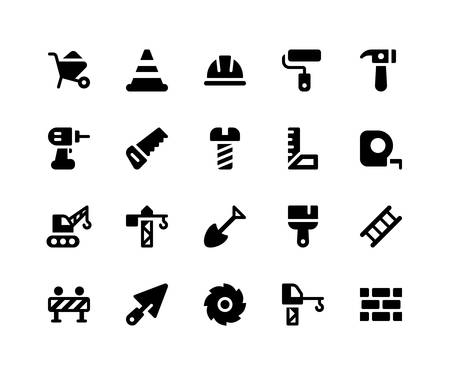 Simple Set of Construction Related Vector Glyph Icons. Contains such Icons as barrow, helmet, hammer, drill, saw and More. pixel perfect vector icons based on 32px grid. Well Organized and Layered Illustration