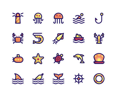 Simple Set of Camping Related Vector Filled Line Icons. Contains such Icons as Lighthouse, Jellyfish, Crab, Shrimp, Squid and More. pixel perfect vector icons based on 32px grid. Well Organized and Layered.