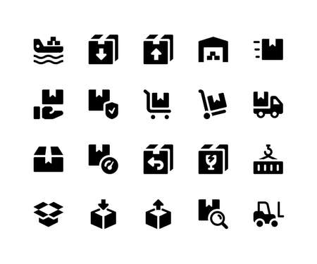 Simple Set of Logistic Related Vector Glyph Icons. Contains such Icons as freighter, package, inventory, warehouse, trolly and More. pixel perfect vector icons based on 32px grid. Well Organized and Layered Illustration