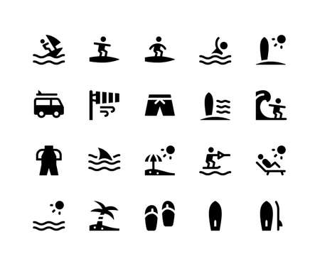 Simple Set of Surfing Related Vector Glyph Icons. Contains such Icons as surfing, beach, surfboard, sandal, sunset and More. pixel perfect vector icons based on 32px grid. Well Organized and Layered