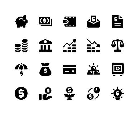 Simple Set of Financial Related Vector Glyph Icons. Contains such Icons as piggy, money, wallet, bill, coins and More. pixel perfect vector icons based on 32px grid. Well Organized and Layered. Illustration