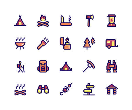 Simple Set of Camping Related Vector Filled Line Icons. Contains such Icons as Camp, Fire, Knife, Hatchet, Lamp and More. pixel perfect vector icons based on 32px grid. Well Organized and Layered.