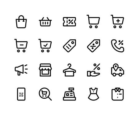 Simple Set of E Commerce Related Vector Line Icons. Contains such Icons as shopping bag, discount, store, label and More. pixel perfect vector icons based on 32px grid. Editable Strokes
