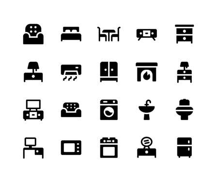 Simple Set of Furniture Related Vector Glyph Icons. Contains such Icons as sofa, bed, table, cabinet, lamp and More. pixel perfect vector icons based on 32px grid. Well Organized and Layered. Foto de archivo - 124447406