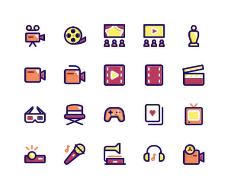 Simple Set of Entertainment Related Vector Filled Line Icons. Contains such Icons as camera, movie, theatre, filmstrip, trophy and More. pixel perfect vector icons based on 32px grid. Editable Strokes.