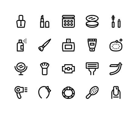 Simple Set of Beauty Related Vector Line Icons. Contains such Icons as Nail Polish, Lipstick, Make Up, Compact, Mascara and more. pixel perfect vector icons based on 32px grid editable strokes Illustration