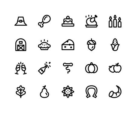 Simple Set of Thanksgiving Related Vector Line Icons. Contains such Icons as pilgrim hat, chicken wing, cake, candles, barn and More. pixel perfect vector icons based on 32px grid editable strokes. Well Organized and Layered.