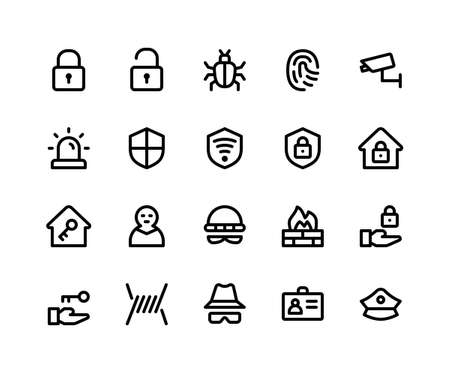 Simple Set of Security Related Vector Line Icons. Contains such Icons as lock, unlock, bug, finger print and More. pixel perfect vector icons based on 32px grid. Editable Strokes