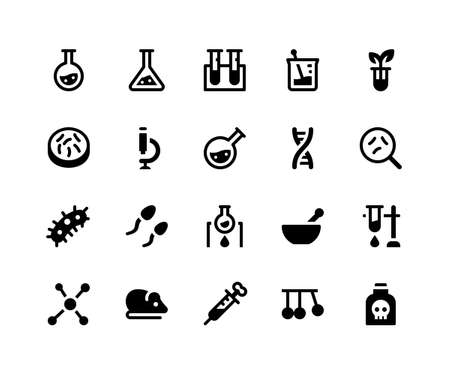 Simple Set of Laboratory Related Vector Glyph Icons. Contains such Icons as chemistry, test tube, microscope, dna, germ and More. pixel perfect vector icons based on 32px grid. Well Organized