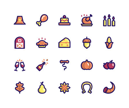 Simple Set of Thanksgiving Related Vector Filled Line Icons. Contains such Icons as pilgrim hat, chicken wing, cake, candles, barn and More. pixel perfect vector icons based on 32px grid. Well Organized and Layered.