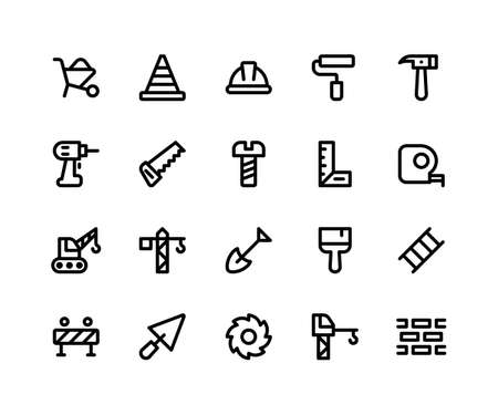 Simple Set of Construction Related Vector Line Icons. Contains such Icons as barrow, helmet, hammer, drill, saw and More. pixel perfect vector icons based on 32px grid. Editable Strokes.