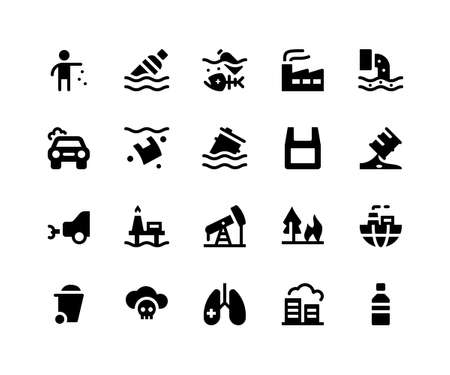 Simple Set of Pollution Related Vector Glyph Icons. Contains such Icons as litter, bottle, factory, drainage, garbage and More. pixel perfect vector icons based on 32px grid. Well Organized and Layered Illustration