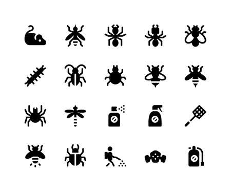 Simple Set of Pest Control Related Vector Glyph Icons. Contains such Icons as mouse, mosquito, ant, termite and More. pixel perfect vector icons based on 32px grid. Well Organized and Layered