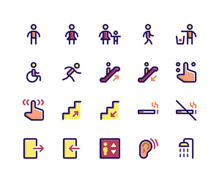 Simple Set of Wayfinding Related Vector Filled Line Icons. Contains such Icons as sign, male, women, walking, run, wheelchair and More. pixel perfect vector icons based on 32px grid. Editable Strokes. Illustration
