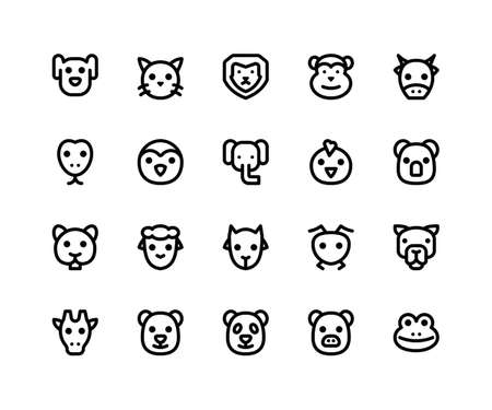 Simple Set of Animal Face Related Vector Line Icons. Contains such Icons as dog, cat, lion, monkey, cow and More. pixel perfect vector icons based on 32px grid editable strokes. Well Organized and Layered.
