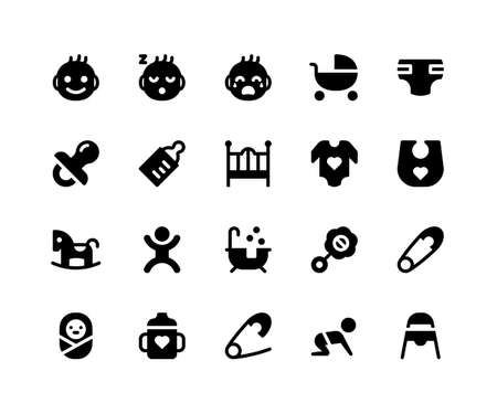 Simple Set of Baby Related Vector Glyph Icons. Contains such Icons as baby, stroller, diaper, pacifier, bottle and More. pixel perfect vector icons based on 32px grid. Well Organized and Layered. Illustration
