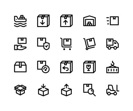 Simple Set of Logistic Related Vector Line Icons. Contains such Icons as freighter, package, inventory, warehouse, trolly and More. pixel perfect vector icons based on 32px grid. Editable Strokes Standard-Bild - 124447678