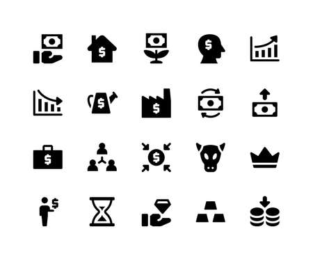 Simple Set of Investment Related Vector Glyph Icons. Contains such Icons as fund, home, money plant, increase and More. pixel perfect vector icons based on 32px grid. Well Organized and Layered Illustration