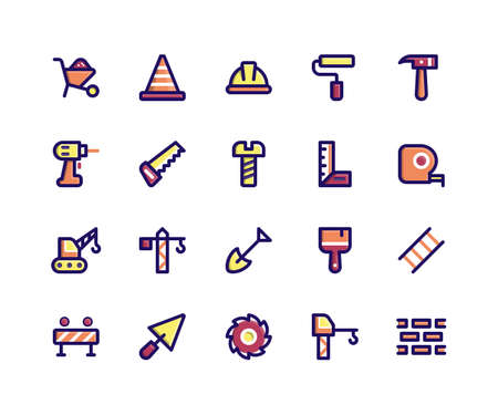 Simple Set of Construction Related Vector Filled Line Icons. Contains such Icons as barrow, helmet, hammer, drill, saw and More. pixel perfect vector icons based on 32px grid. Editable Strokes