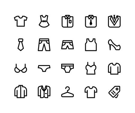 Simple Set of Clothing Related Vector Line Icons. Contains such Icons as t shirt, dress, pant, shoe, sweater and More. pixel perfect vector icons based on 32px grid. Well Organized and Layered.