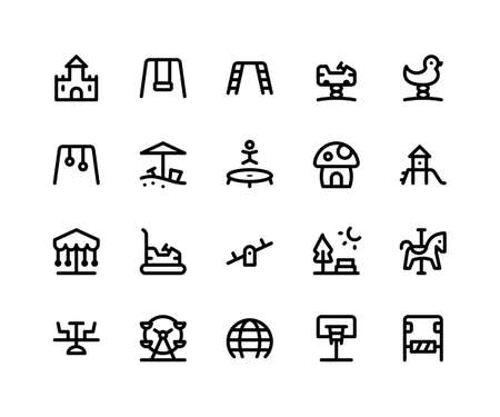 Simple Set of Playground Related Vector Line Icons. Contains such Icons castle, swing, trampoline, slide, seesaw and More. pixel perfect vector icons based on 32px grid. Editable Strokes Illustration