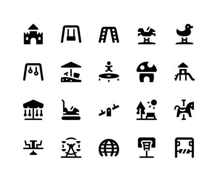 Simple Set of Playground Related Vector Glyph Icons. Contains such Icons as castle, swing, trampoline, slide, seesaw and More. pixel perfect vector icons based on 32px grid. Well Organized and Layered Stock Vector - 124447699