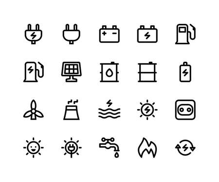 Simple Set of Energy Related Vector Line Icons. Contains such Icons as plug, battery, gas, solar, oil, sun and More. pixel perfect vector icons based on 32px grid. Well Organized and Layered