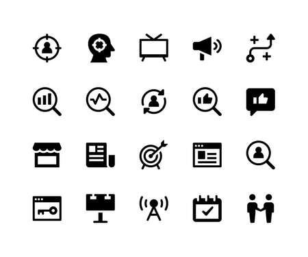 Simple Set of Marketing Related Vector Glyph Icons. Contains such Icons as target, strategy, feedback, goal and More. pixel perfect vector icons based on 32px grid. Well Organized and Layered