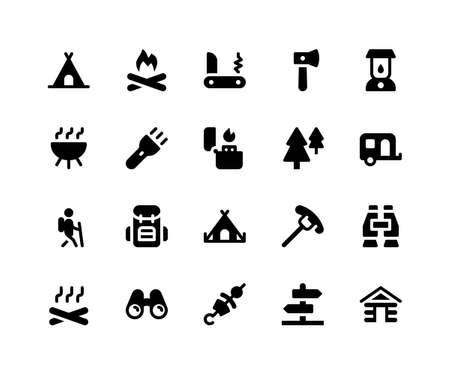 Simple Set of Camping Related Vector Glyph Icons. Contains such Icons as Camp, Fire, Knife, Hatchet, Lamp and More. pixel perfect vector icons based on 32px grid. Well Organized and Layered.