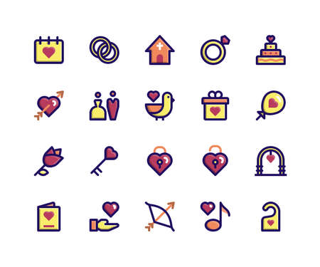 Simple Set of Wedding Related Vector Filled Line Icons. Contains such Icons as date, ring, church, cake, arch and More. pixel perfect vector icons based on 32px grid. Well Organized and Layered.