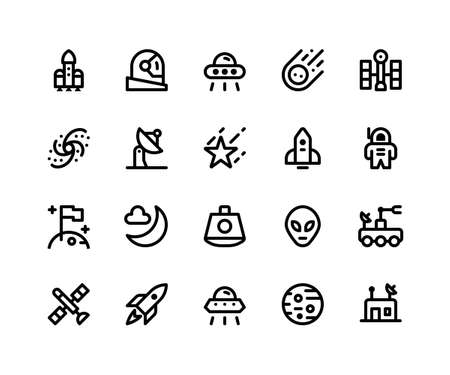 Simple Set of Space Related Vector Glyph Icons. Contains such Icons as rocket, astronaut, alien, comet, satellite and More. pixel perfect vector icons based on 32px grid. Well Organized and Layered