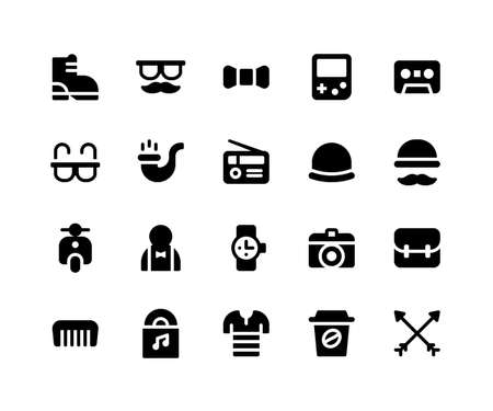 Simple Set of Hipster Related Vector Glyph Icons. Contains such Icons as boot, mustache, bow, game, tape and More. pixel perfect vector icons based on 32px grid. Well Organized and Layered.