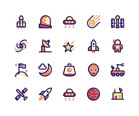 Simple Set of Space Related Vector Line Icons. Contains such Icons as rocket, astronaut, alien, comet, satellite and More. pixel perfect vector icons based on 32px grid. Editable Strokes