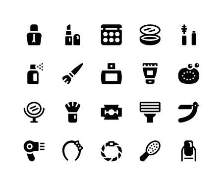 Simple Set of Beauty Related Vector Glyph Icons. Contains such Icons as Nail Polish, Lipstick, Make Up, Compact, Mascara and more. pixel perfect vector icons based on 32px grid