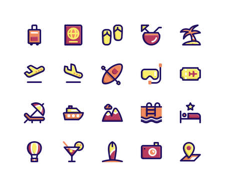 Simple Set of Travel Related Vector Filled Line Icons. Contains such Icons as briefcase, passport, sandals, coconut, island and More. pixel perfect vector icons based on 32px grid. Well Organized and Layered.