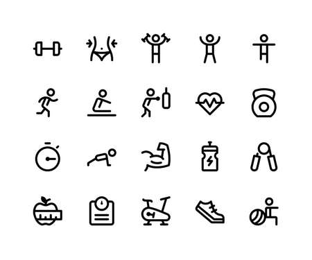Simple Set of Fitness Related Vector Line Icons. Contains such Icons as dumbbell, exercise, run, boxing, push up and More. pixel perfect vector icons based on 32px grid. Editable Strokes Illustration