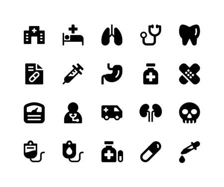 Simple Set of Medical Related Vector Glyph Icons. Contains such Icons as hospital, medical, lungs, doctor, teeth and More. pixel perfect vector icons based on 32px grid. Well Organized Illustration