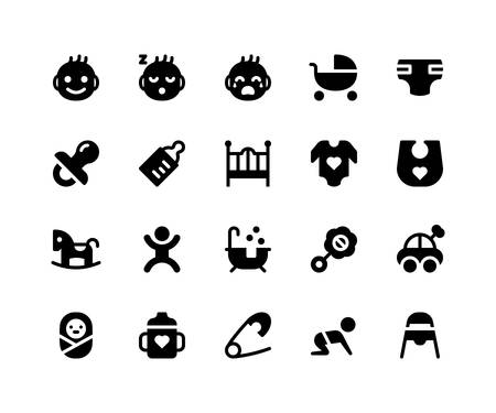 Simple Set of Baby Related Vector Glyph Icons. Contains such Icons as baby, stroller, diaper, pacifier, bottle and More. pixel perfect vector icons based on 32px grid. Well Organized and Layered Illustration