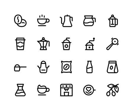 Simple Set of Coffee Shop Related Vector Line Icons. Contains such Icons beans, cup, kettle, grinder, apron and More. pixel perfect vector icons based on 32px grid. Editable Strokes