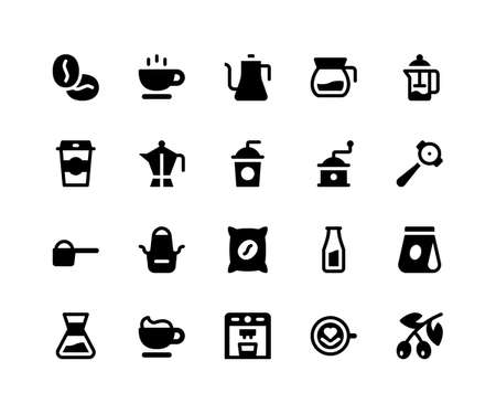 Simple Set of Coffee Shop Related Vector Glyph Icons. Contains such Icons as beans, cup, kettle, grinder, apron and More. pixel perfect vector icons based on 32px grid. Well Organized