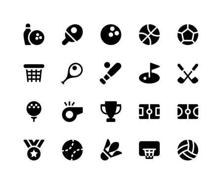 Simple Set of Sport Related Vector Glyph Icons. Contains such Icons as bowling, tennis, basketball, soccer, baseball and More. pixel perfect vector icons based on 32px grid. Well Organized and Layered. Illustration