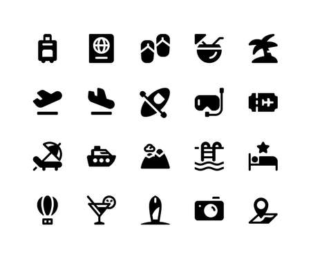 Simple Set of Travel Related Vector Glyph Icons. Contains such Icons as briefcase, passport, sandals, coconut, island and More. pixel perfect vector icons based on 32px grid. Well Organized and Layered.
