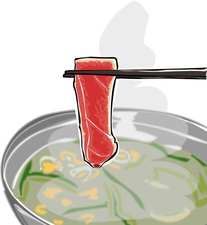 The meat was cooked in a pot to boil.