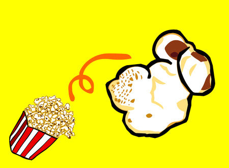 one piece: One piece of popcorn that far out.