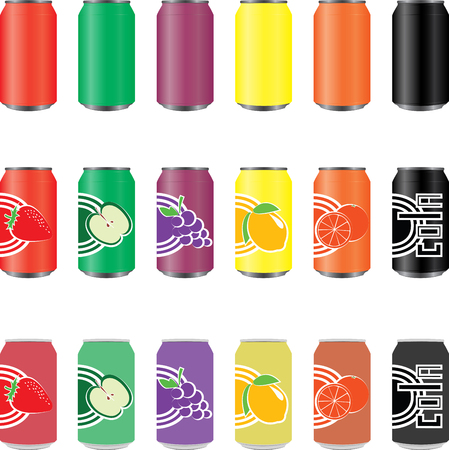 unprinted: Cans of soft drinks juices of many colors.