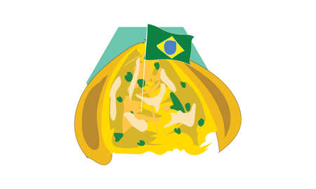 Brazilian food illustration design with the name coxinha