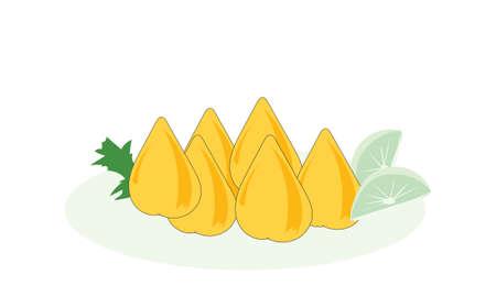 Brazilian food illustration design with the name coxinha Vector Illustratie
