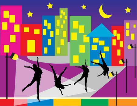 people dancing in the night of city  Vector